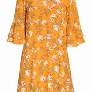 Cellbes Lager-på-lager klänning med volangärmar Gul Mönstrad